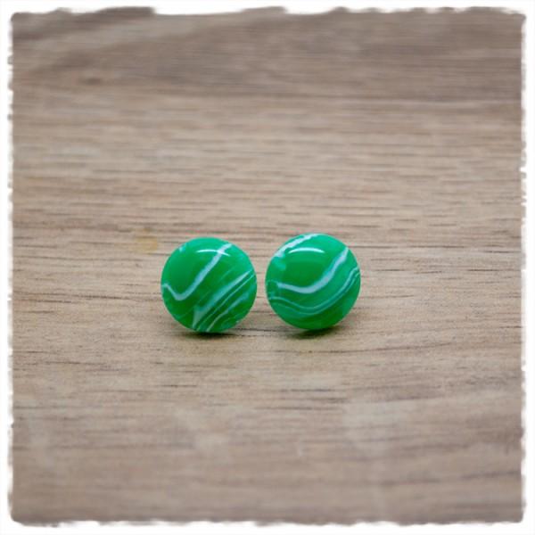 1 Paar Ohrstecker in 12 mm grün weiß marmoriert
