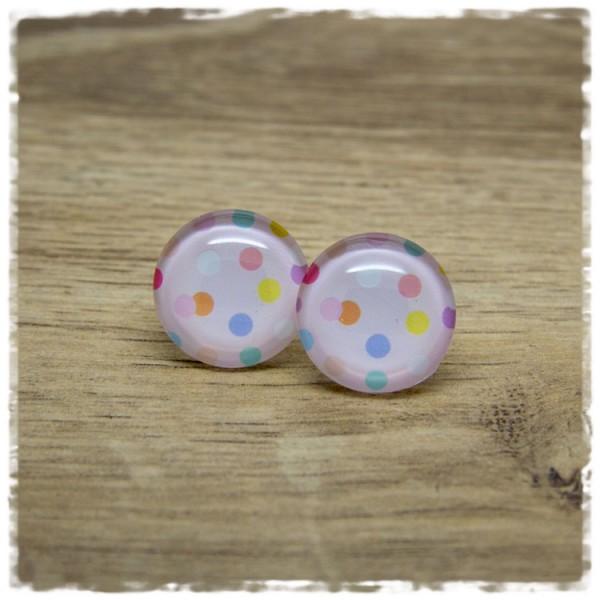 1 Paar Ohrstecker rosa mit bunten Punkten