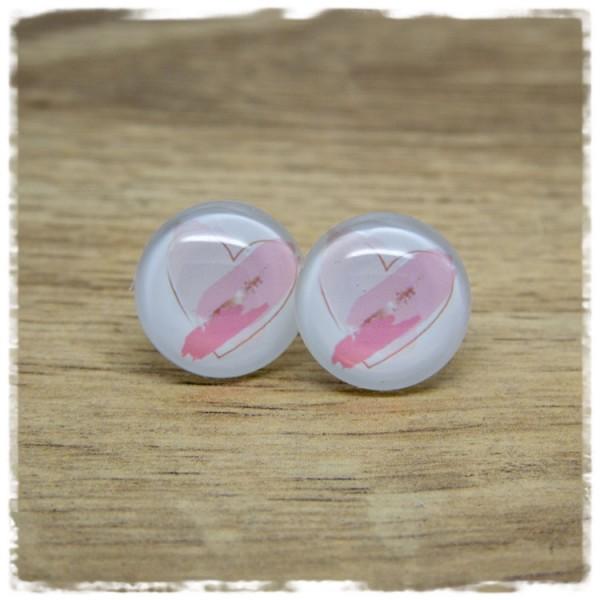 1 Paar Ohrstecker mit rosa Herz