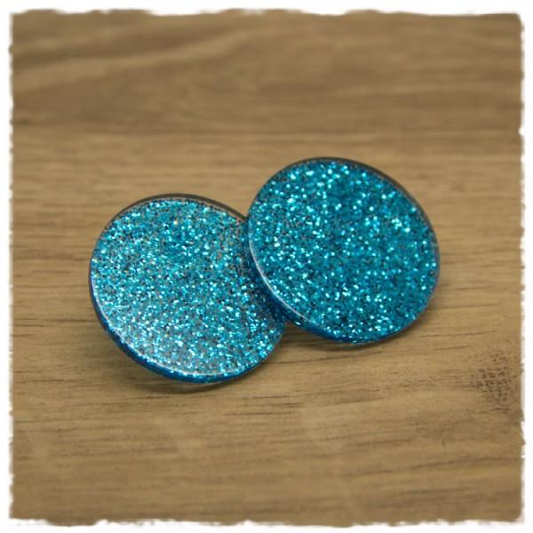 1 Paar Glitzerohrstecker in 30 mm trans clear blau
