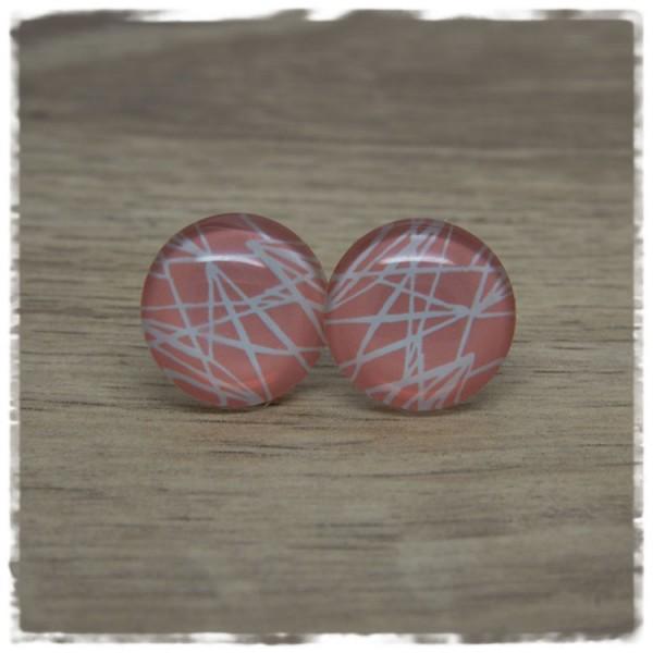 1 Paar Ohrstecker apricot mit weißen Strichen