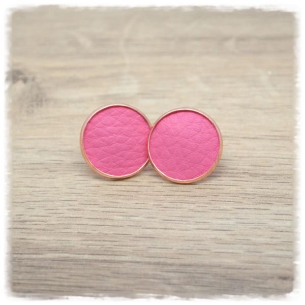 1 Paar Lederohrstecker rosa mit rose Fassung