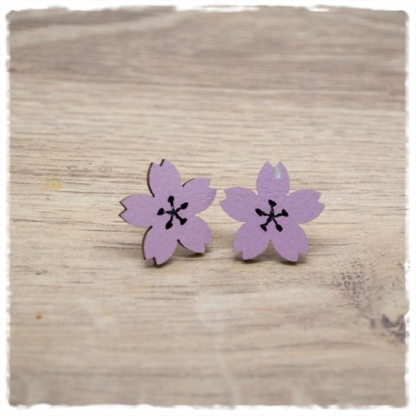 1 Paar Holzohrstecker 18 mm Blüte flieder