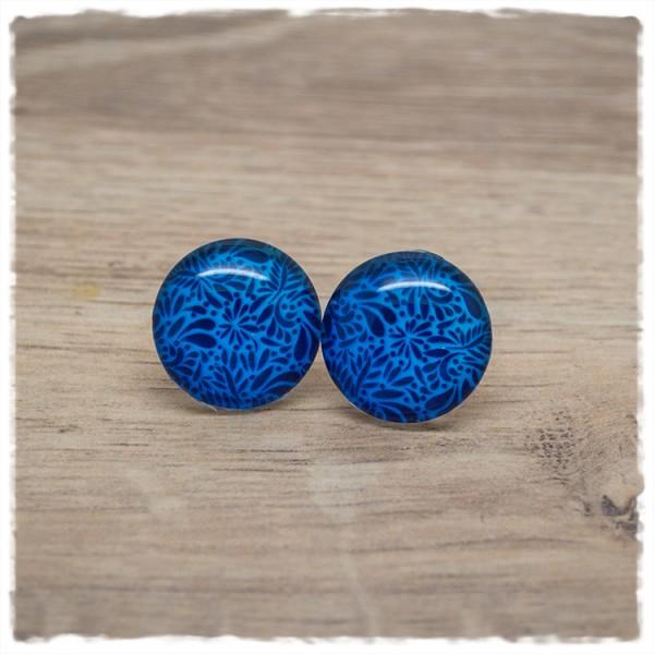1 Paar Ohrstecker blau gemustert