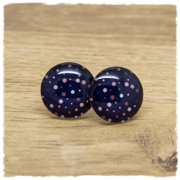 1 Paar Ohrstecker dunkelblau mit mehrfarbigen Punkten
