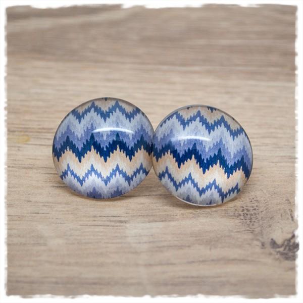 1 Paar Ohrstecker in 25 mm blau - beige- gezackt