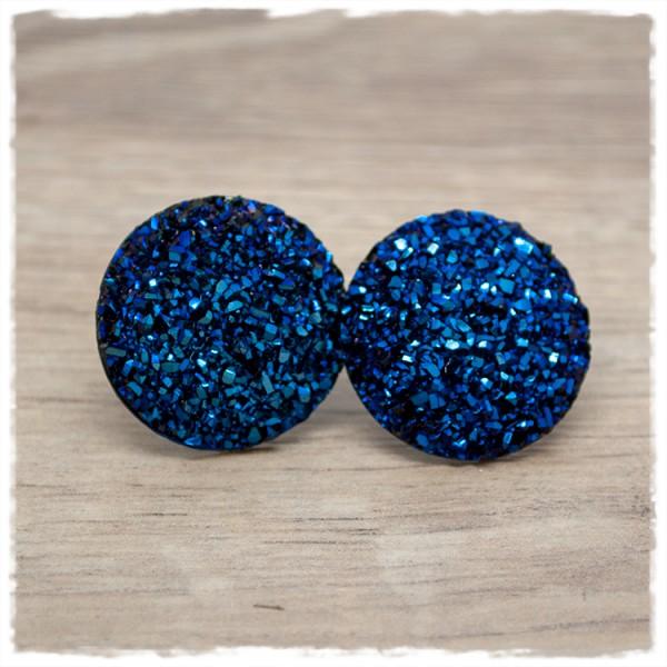 1 Paar Glitzerohrstecker in 25 mm dunkelkblau