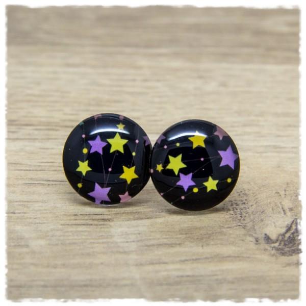 1 Paar Ohrstecker in 20 mm mit Sternen in gelb und lila