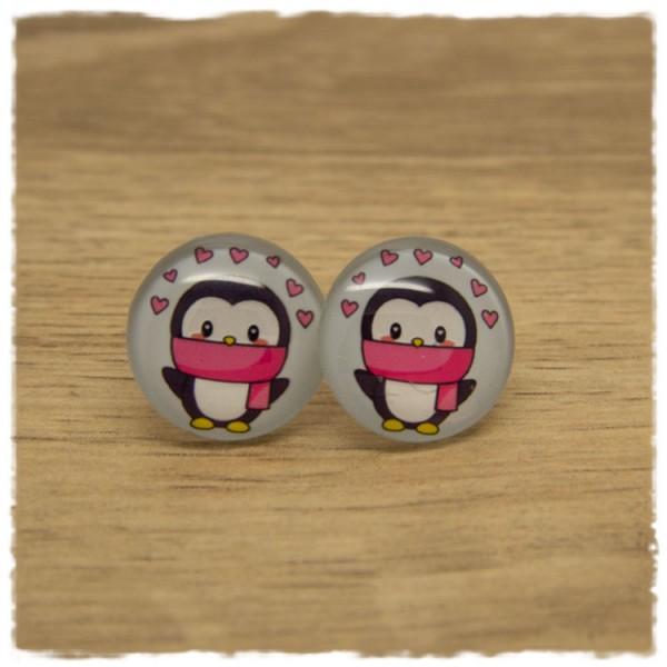 1 Paar Ohrstecker Pinguin mit Herzen