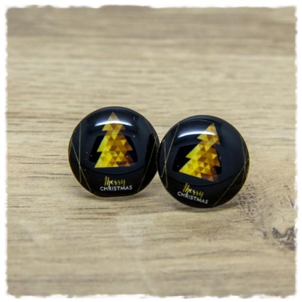 1 Paar Ohrstecker in 20 mm Merry Christmas in gold mit Weihnachtsbaum
