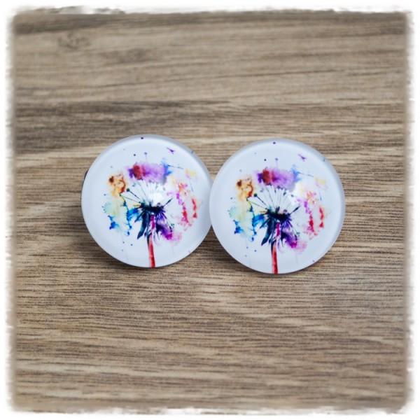 1 Paar Ohrstecker in 20 mm mit bunter Pusteblume (wahlweise als Ohrclips)