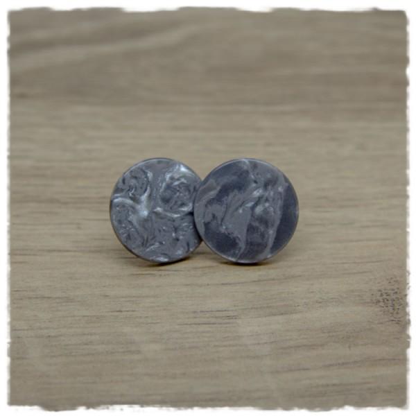 1 Paar flache Ohrstecker in 20 mm shiny silver night