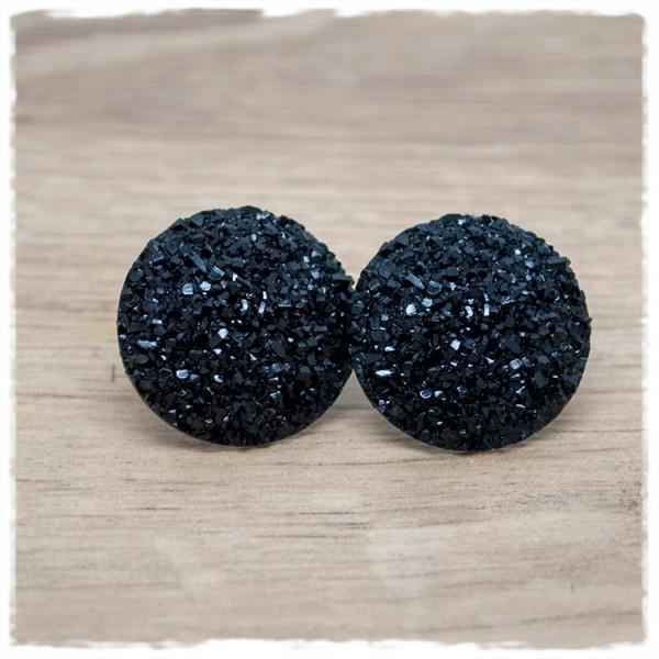 1 Paar Glitzerohrstecker in 25 mm schwarz