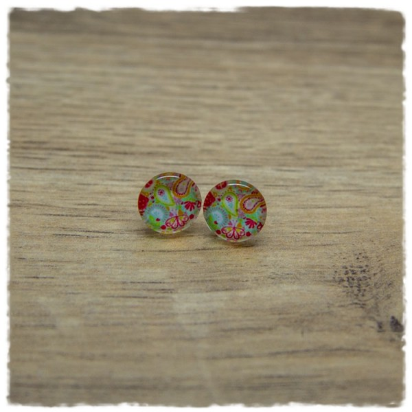 1 Paar Ohrstecker in 10 mm mit Paisleymuster