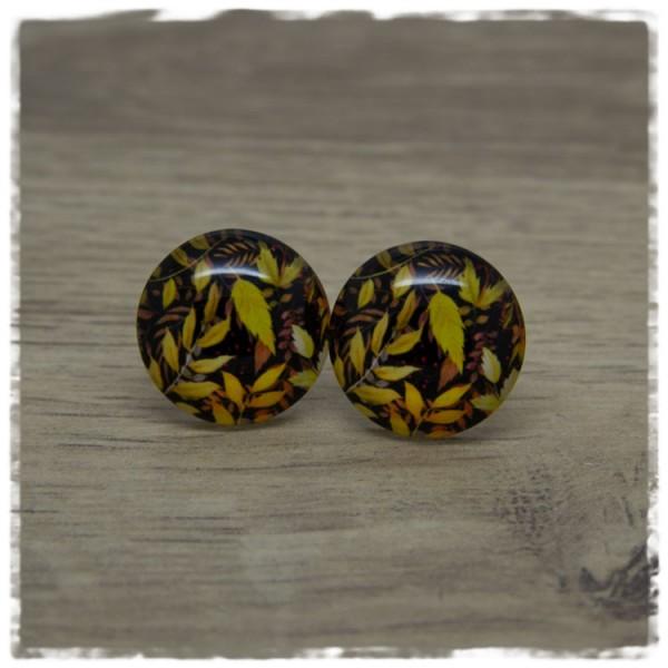 1 Paar Ohrstecker mit gelben und braunen Blättern