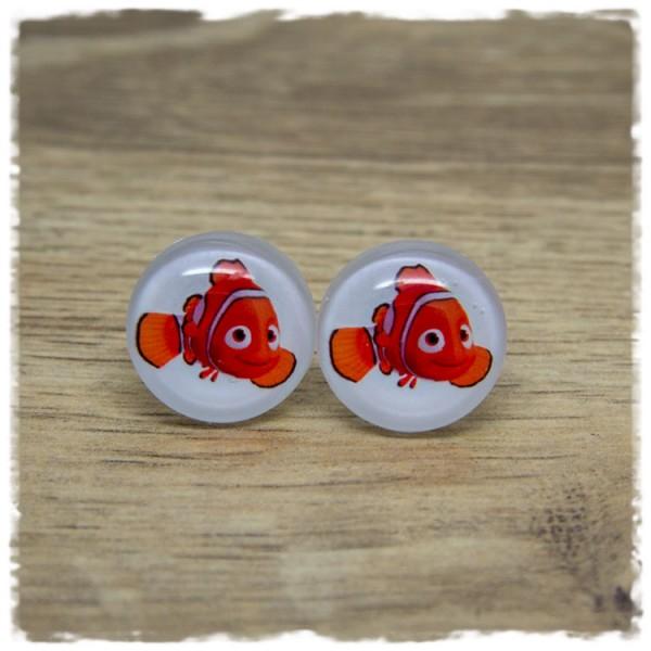 1 Paar Ohrstecker mit orangenem Fisch