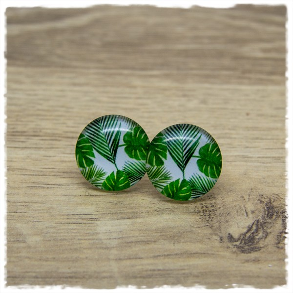 1 Paar Ohrstecker in 20 mm mit Palmenblättern