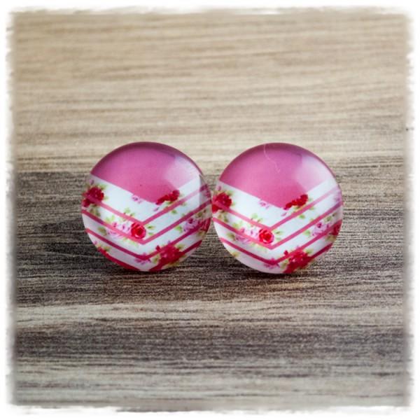 1 Paar Ohrstecker mit Blüten auf rosa weißem Hintergrund (wahlweise als Ohrclips)