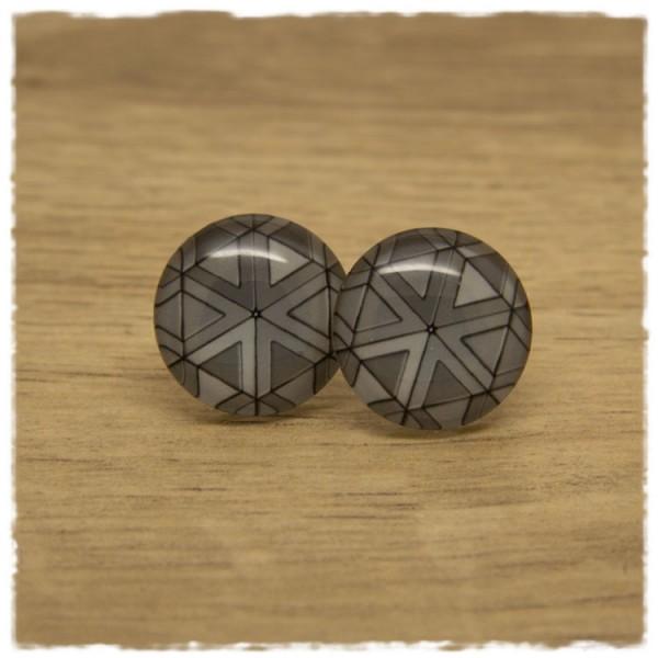 1 Paar Ohrstecker grau gemustert mit Dreiecken