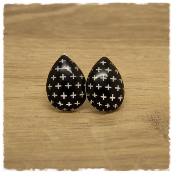 1 Paar große Ohrstecker in Tropfenform schwarz mit weißen Kreuzen