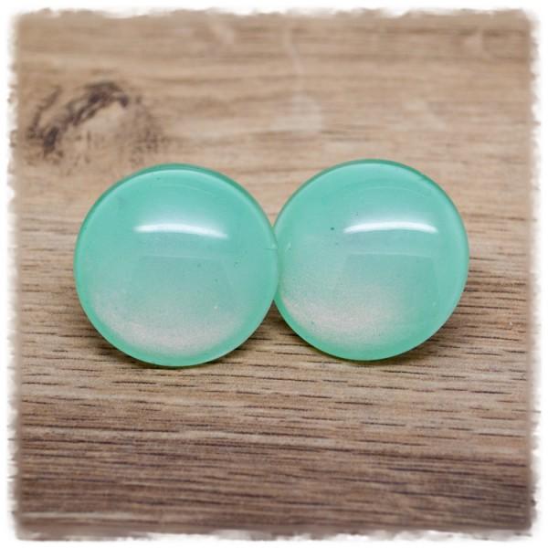 1 Paar Ohrstecker in 30 mm einfarbig mint (wahlweise als Ohrclips)