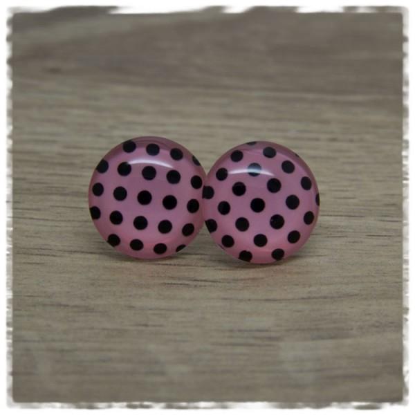 1 Paar Ohrstecker Polka Dots rosa schwarz