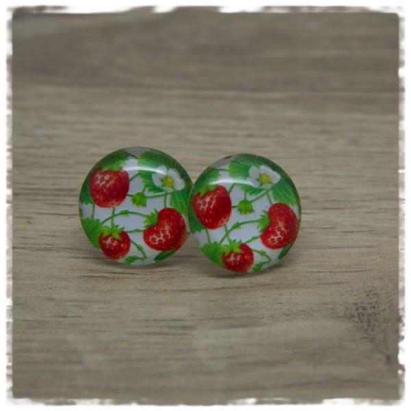 1 Paar Ohrstecker mit Erdbeeren