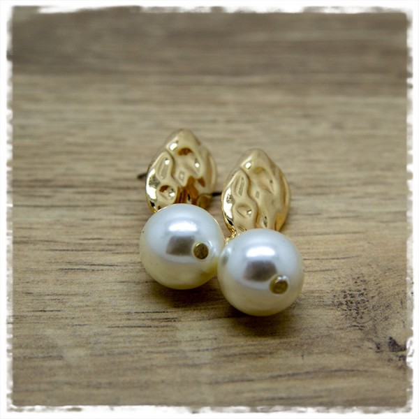 1 Paar Ohrhänger in 40 mm golden mit runder Perle