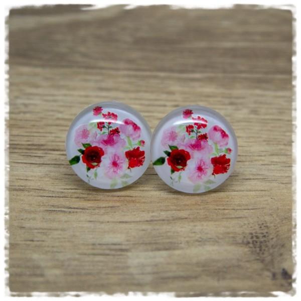 1 Paar Ohrstecker weiß mit rosa und roten Blumen