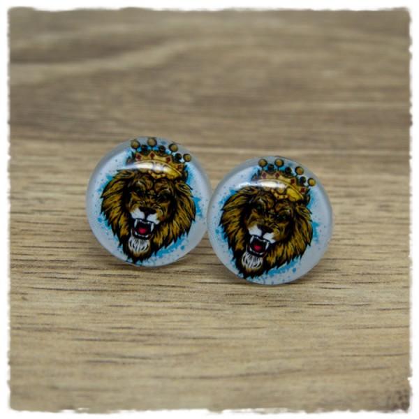 1 Paar Ohrstecker Löwe mit Krone