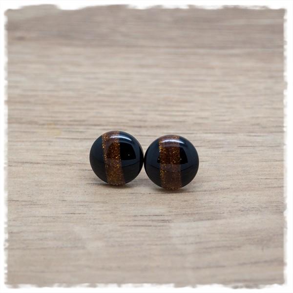 1 Paar Ohrstecker in 12 mm schwarz mit braun