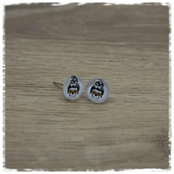 1 Paar Ohrstecker in 10 mm Kopf mit Leobrille
