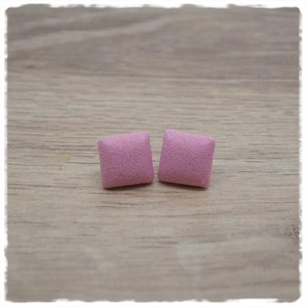 1 Paar quadratische Stoffohrstecker in 14 mm rosa