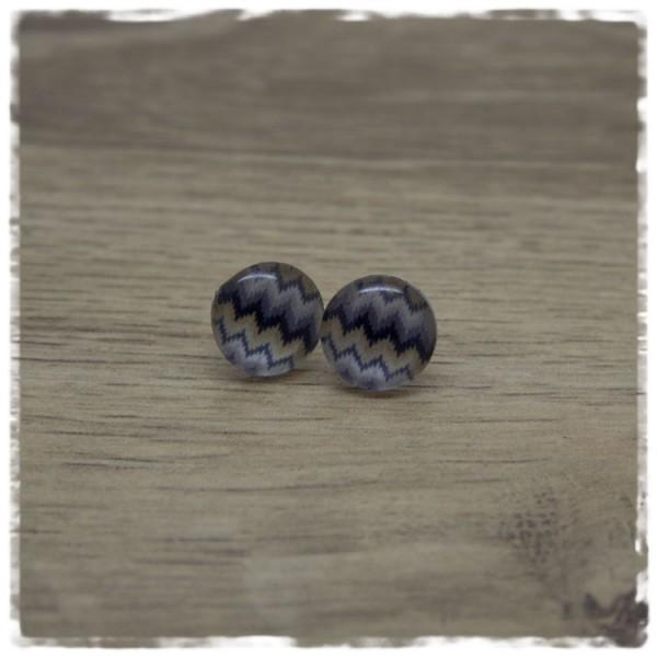 1 Paar Ohrstecker in 12 mm mehrfarbig gezackt