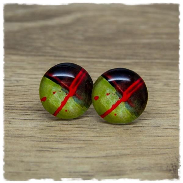 1 Paar Ohrstecker grün-braun gemustert mit rotem Streifen