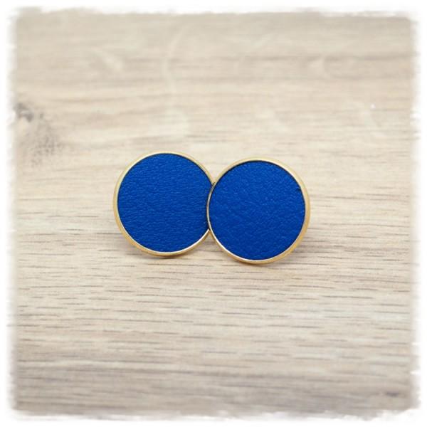 1 Paar Lederohrstecker blau mit goldener Fassung