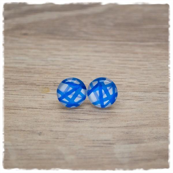 1 Paar Ohrstecker in 12 mm mit blauen Strichen