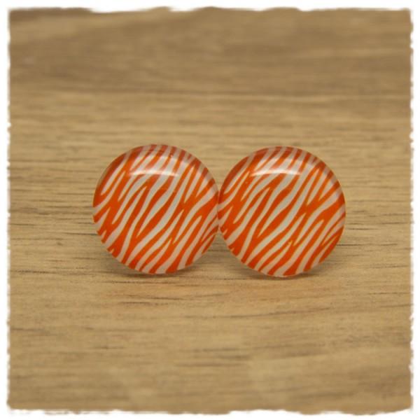 1 Paar Ohrstecker orange weiß gemustert