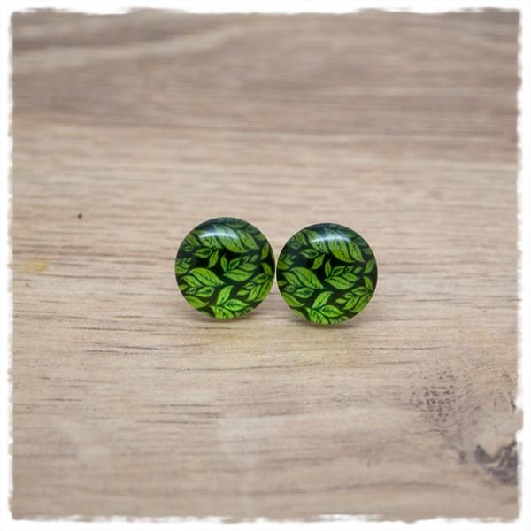 1 Paar Ohrstecker 14 mm mit grünen Blättern