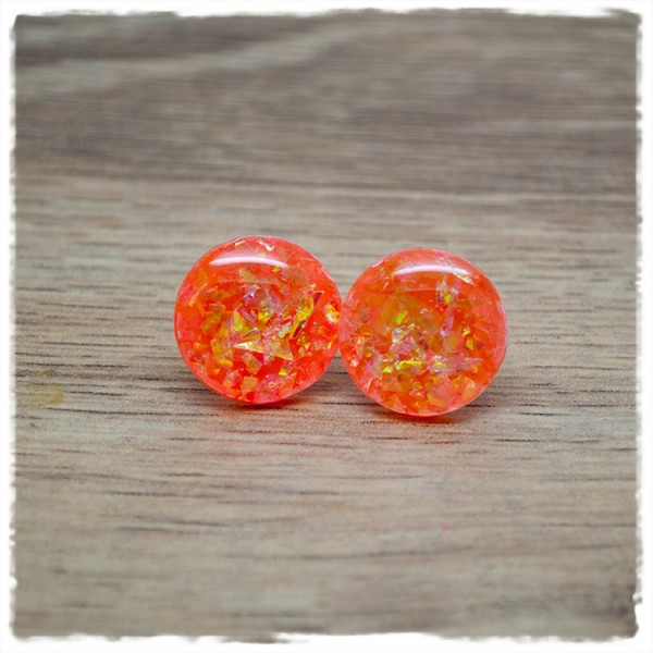 1 Paar Ohrstecker in 16 mm orange mit Glitterflakes