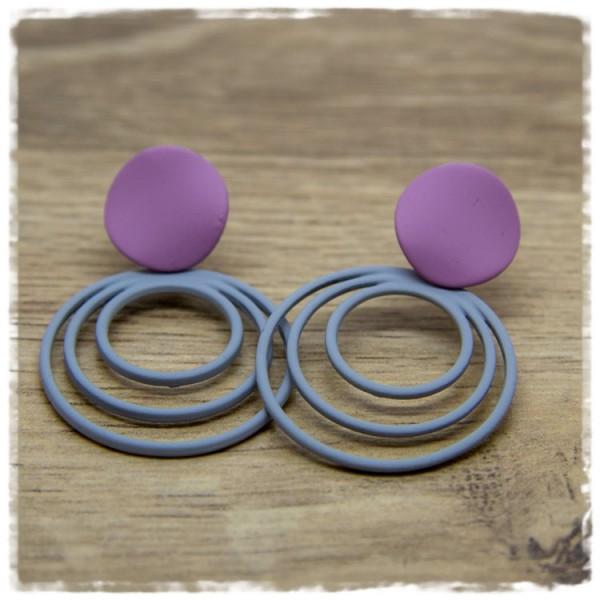 1 Paar Ohrstecker in 30 mm rosa-grau