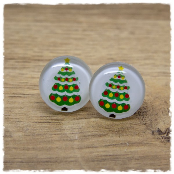 1 Paar Ohrstecker Tannenbaum mit Weihnachtskugeln