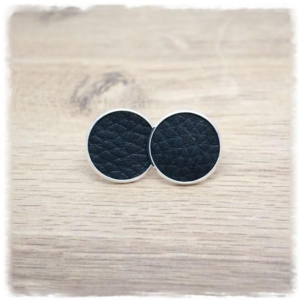 1 Paar Lederohrstecker schwarz mit silberner Fassung