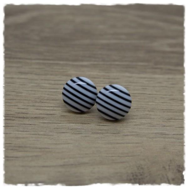 1 Paar Ohrstecker in 12 mm schwarz weiß gestreift