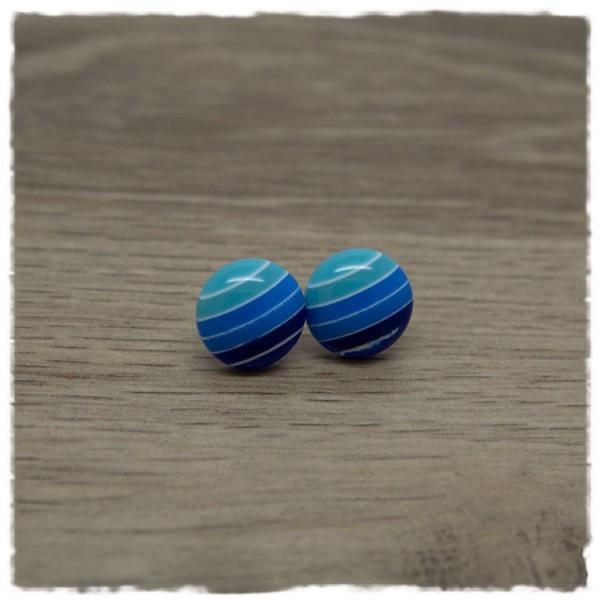 1 Paar Ohrstecker in 12 mm mit Blautönen und weißen Streifen