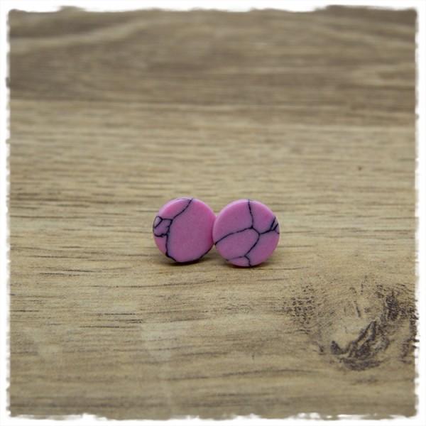 1 Paar Ohrstecker in 12 mm rosa grau marmoriert