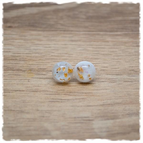 1 Paar Ohrstecker in 10 mm mit weiß mit goldenem Glitter
