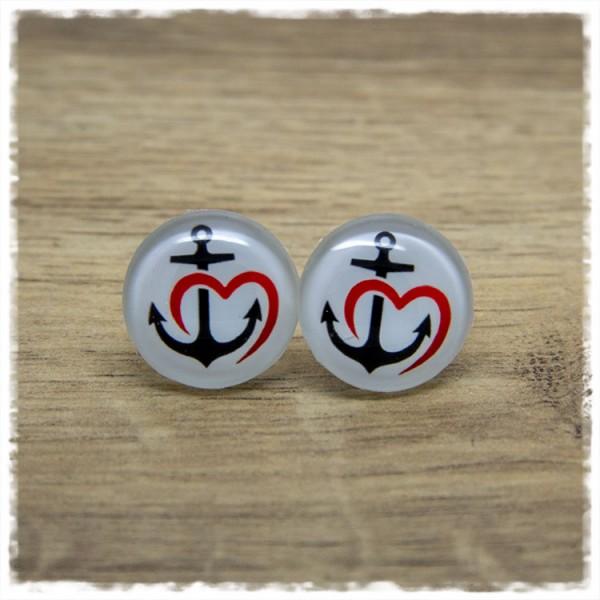 1 Paar Ohrstecker mit Anker und Herz
