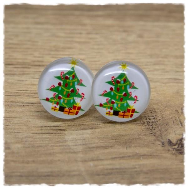 1 Paar Ohrstecker Weihnachtsbaum mit Geschenken