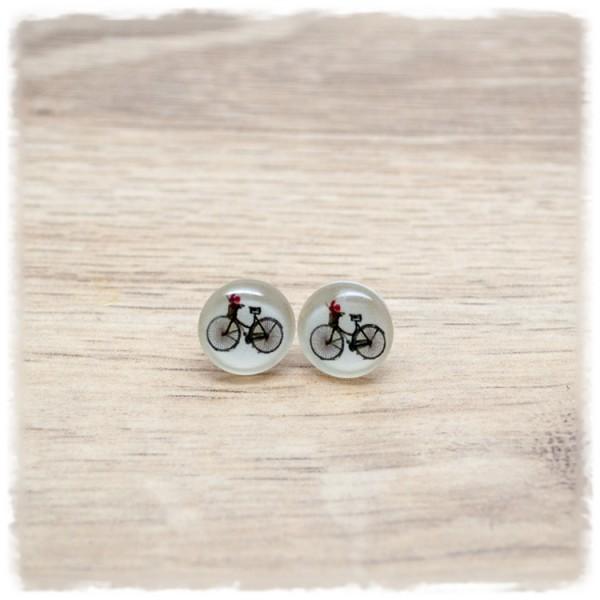 1 Paar Ohrstecker in 12 mm mit Fahrrad